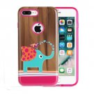For iPhone 8+ & 7+ Small Elephant Pattern TPU + PC Relief Combination Case