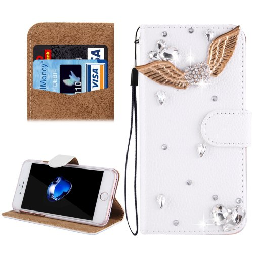 For iPhone 8+ & 7+ Angel Diamond Magnetic Leather Case with Holder, Card Slots
