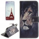 For iPhone X Lion Pattern Flip Leather Case with Holder, Card Slots & Wallet