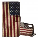 For iPhone X US Flag Pattern Flip Leather Case with Holder, Card Slots & Wallet