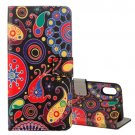 For iPhone X Acaleph Pattern Flip Leather Case with Holder, Card Slots & Wallet