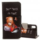 For iPhone X Bear Pattern Flip Leather Case with Holder, Card Slots & Wallet