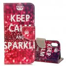 For iPhone X SPARKLE Pattern Flip Leather Case with Holder, Card Slots & Wallet
