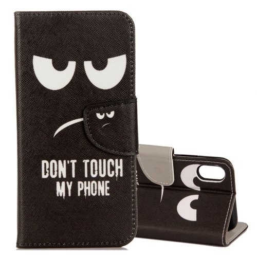 For iPhone X Eyes Pattern Flip Leather Case with Holder, Card Slots & Wallet