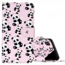 For iPhone X Embossed Panda Flip Leather Case with Holder, Card Slots & Wallet