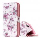 For iPhone X Rose Pattern Flip Leather Case with Holder, Card Slots & Wallet