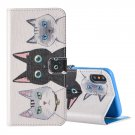 For iPhone X 3 Cats pattern Leather Case with Holder, Card Slots & Wallet