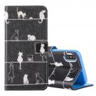 For iPhone X Cats pattern Leather Case with Holder, Card Slots & Wallet