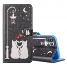 For iPhone X Love Cats pattern Leather Case with Holder, Card Slots & Wallet
