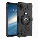 For iPhone X Black Gearwheel TPU + PC Case with Rotatable Holder & Armband