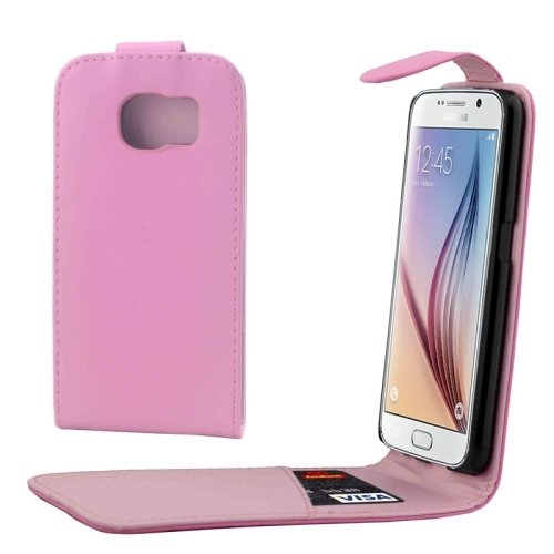 For Samsung Galaxy S6 / G920 Pink Vertical Flip Magnetic Button Leather Case