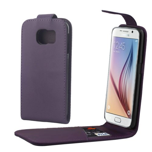 For Samsung Galaxy S6 / G920 Purple Vertical Flip Magnetic Button Leather Case
