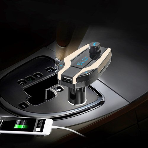 Gold FM Transmitter and USB Car Charger MP3 Player Support USB SD TF
