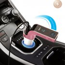 Pink Multifunctional Bluetooth Car Charger with Car Full Frequency FM Transmitter