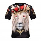 Red eye lion 3D printed T-Shirts short sleeve slim tops