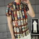 Hip-Hop Bottles Pattern Print Short Sleeve Tee Casual T-Shirt