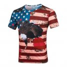 Eagle Stars Stripes Print round-neck Short Sleeve T-Shirt