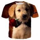 T-shirt Cute Dog 3D Print Short Sleeve Mens Tops