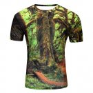 Cool 3D Forest Big Tree Print O-Neck Short Sleeve Tee T-Shirt