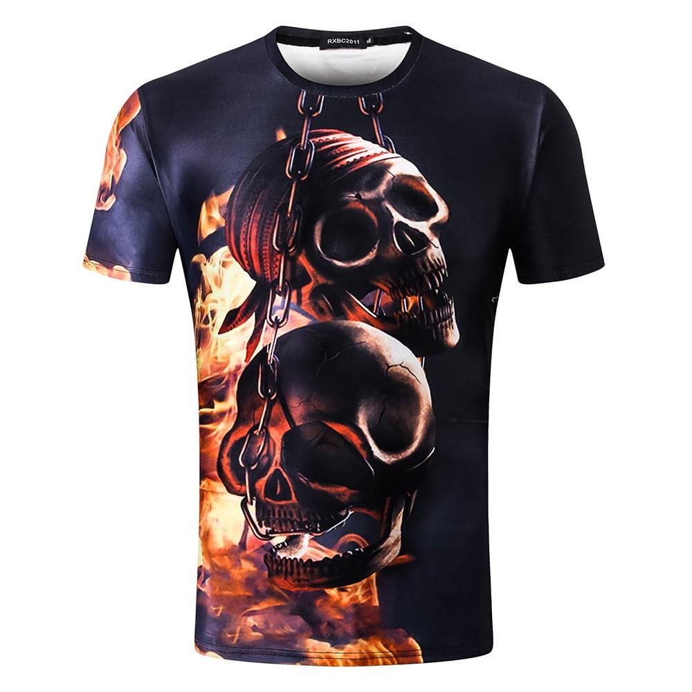 Fashion Mens Fire Skull 3D Printing Tees Shirt Short Sleeve Blouse Tops