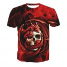 Fashion Short Sleeve Cool 3d Dragon Skull 2 Sides Printed T-shirt