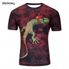3D 2 Sides Printed Lizard T Shirt Summer Round Collar Sport Tops