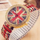 Fashion Diamond Wristwatch Flexible UK Flag Quartz Watch