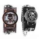 Copper Skull Leather Watch men fashion punk sports Quartz Wrist Watch - 2 colors