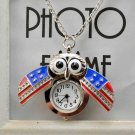 Retro Slide Owl Pendant Long Necklace Analog Pocket Watch - 3 colors