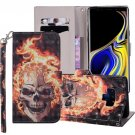 For Galaxy Note 9 Fire Skull Horizontal Flip Leather Case with Holder, Card Slots & Wallet