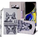 For Galaxy Note 9 Cat In The Mirror Horizontal Flip Leather Case with Holder, Card Slots & Wallet