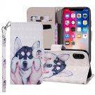 For iPhone X/XS Husky Horizontal Flip Leather Case with Holder, Card Slots & Wallet