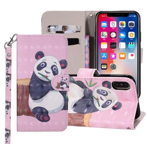 For iPhone X/XS Panda Horizontal Flip Leather Case with Holder, Card Slots & Wallet