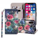 For iPhone X/XS Rose Flower Horizontal Flip Leather Case with Holder, Card Slots & Wallet