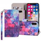 For iPhone X/XS 3D Color Grid Horizontal Flip Leather Case with Holder, Card Slots & Wallet