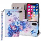 For iPhone X/XS Butterfly Flower Horizontal Flip Leather Case with Holder, Card Slots & Wallet
