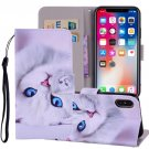 For iPhone X/XS White Cat Horizontal Flip Leather Case with Holder, Card Slots & Wallet