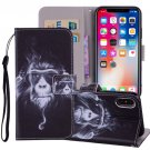 For iPhone X/XS Chimpanzee Horizontal Flip Leather Case with Holder, Card Slots & Wallet
