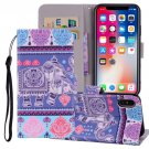 For iPhone X/XS Elephant Horizontal Flip Leather Case with Holder, Card Slots & Wallet