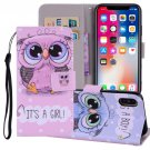 For iPhone X/XS Cute Owl Horizontal Flip Leather Case with Holder, Card Slots & Wallet