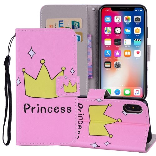 For iPhone X/XS Crown Horizontal Flip Leather Case with Holder, Card Slots & Wallet