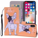 For iPhone X/XS Hearted Dog Horizontal Flip Leather Case with Holder, Card Slots & Wallet