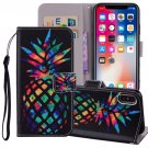 For iPhone X/XS Pineapple Horizontal Flip Leather Case with Holder, Card Slots & Wallet