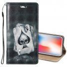 For iPhone X/XS 3D Relief Poker Horizontal Flip Leather Case with Holder, Card Slots & Wallet