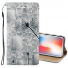 For iPhone X/XS 3D Relief Dandelion Horizontal Flip Leather Case with Holder, Card Slots & Wallet