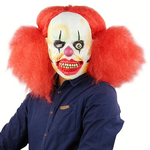 Halloween Festival Party Latex Red Big Scorpion Clown Frightened Mask Headgear, with Hair