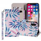 For iPhone XR Green Leaves Horizontal Flip Leather Case with Holder, Card Slots & Wallet
