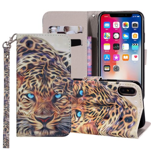 For iPhone XR Leopard Horizontal Flip Leather Case with Holder, Card Slots & Wallet