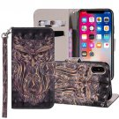 For iPhone XR Owl Horizontal Flip Leather Case with Holder, Card Slots & Wallet