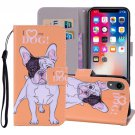 For iPhone XR Hearted Dog Horizontal Flip Leather Case with Holder, Card Slots & Wallet